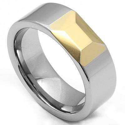 STUNNING FACETED DESIGN YELLOW AND WHITE CARBIDE TUNGSTEN RING - Wholesalekings.com