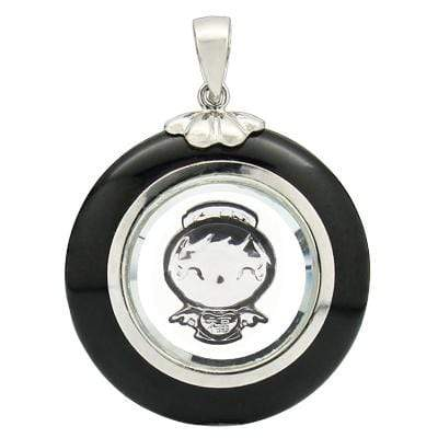 STUNNING ROTATABLE ANGEL WITH  BLACK AGATE WHITE GERMAN SILVER PENDANT - Wholesalekings.com