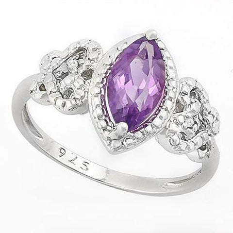 SUPERB ! 0.77 CT AMETHYST & 2PCS GENUINE DIAMOND 925 STERLING SILVER RING wholesalekings wholesale silver jewelry