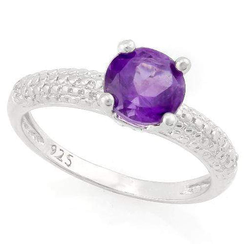 SUPERB ! 1 2/5 CARAT AMETHYST & DIAMOND 925 STERLING SILVER RING - Wholesalekings.com
