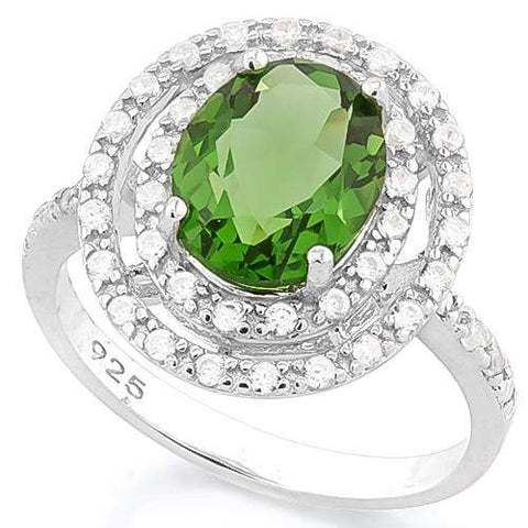 SUPERB !   3 1/2 CARAT CREATED GREEN SAPPHIRE &  4 CARAT (40 PCS) FLAWLESS CREATED DIAMOND 925 STERLING SILVER RING - Wholesalekings.com