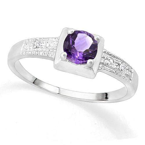 SUPERB ! 3/5 AMETHYST & DIAMOND 925 STERLING SILVER RING wholesalekings wholesale silver jewelry