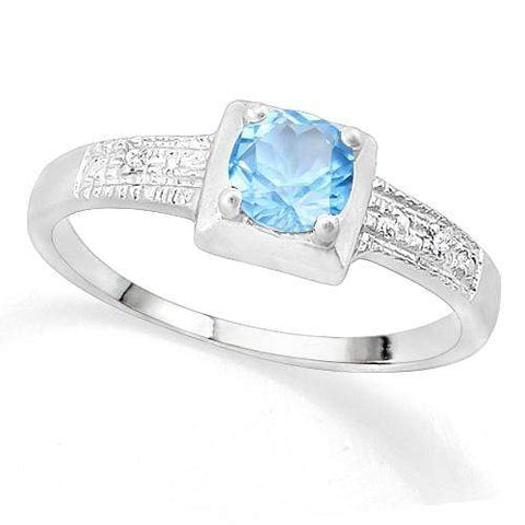 SUPERB ! 3/5 BABY SWISS BLUE TOPAZ & DIAMOND 925 STERLING SILVER RING wholesalekings wholesale silver jewelry