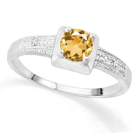 SUPERB ! 3/5 CITRINE & DIAMOND 925 STERLING SILVER RING wholesalekings wholesale silver jewelry