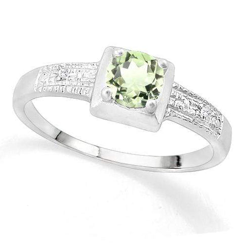 SUPERB ! 3/5 GREEN AMETHYST & DIAMOND 925 STERLING SILVER RING - Wholesalekings.com