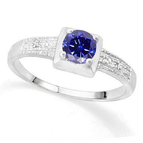 SUPERB ! 3/5 LAB TANZANITE & DIAMOND 925 STERLING SILVER RING wholesalekings wholesale silver jewelry