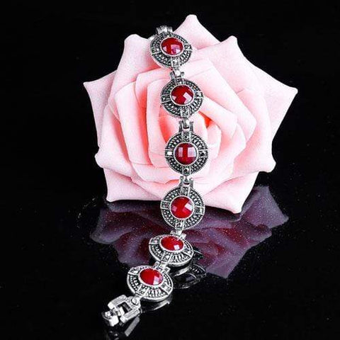SUPERB ! CREATED CHECKERBOARD RED STONE GERMAN SILVER BRACELET - Wholesalekings.com