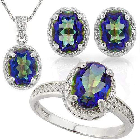 THUNDERING 7 2/5 CARAT OCEAN MYSTIC GEMSTONE & DIAMOND 925 STERLING SILVER JEWEL - Wholesalekings.com