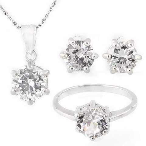 THUNDERING 7 3/5 CARAT CREATED WHITE SAPPHIRE 925 STERLING SILVER SET - Wholesalekings.com