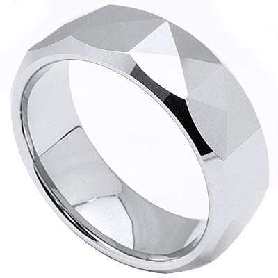 TRIANGLE FACETED CARBIDE TUNGSTEN RING - Wholesalekings.com