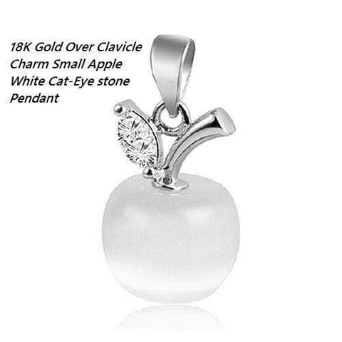 US 18K Gold- Over Clavicle Charm Small Apple White Cat-Eye stone German Silver Pendant - Wholesalekings.com