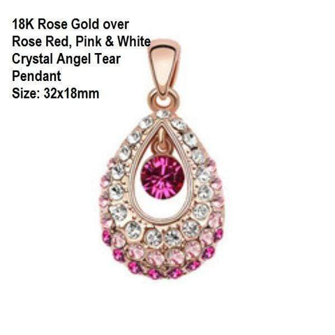 US 18K Rose Gold- Rose Red, Pink & White Crystal Angel Tear German Silver Pendant - Wholesalekings.com