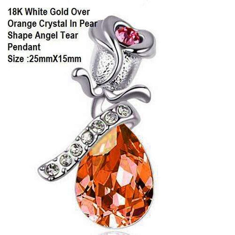 US 18K White Gold- Over Orange Crystal In Pear Shape Angel Tear German Silver Pe - Wholesalekings.com