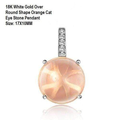 US 18K White Gold- Over Round Shape Orange Cat Eye Quartz Stone German Silver Pendant Size:17X10MM - Wholesalekings.com