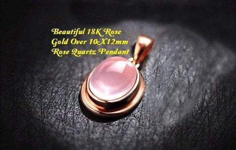 US Beautiful 18K Rose Gold- Over 10X12mm Rose Quartz German Silver Pendant wholesalekings wholesale silver jewelry