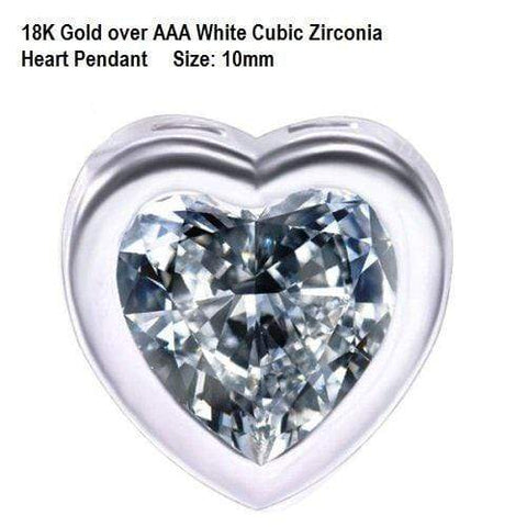 US/HK 18K Gold- over AAA White Cubic Zirconia Heart German Silver Pendant Size: 10mm - Wholesalekings.com