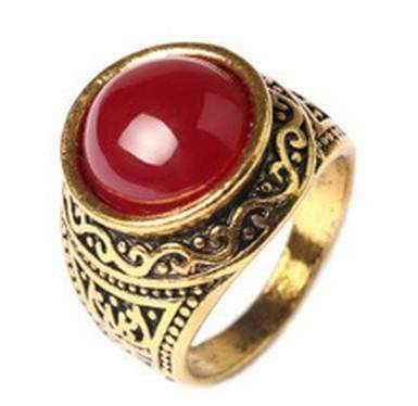 VINTAGE GOLD PLATED ALLOY RED AGATE RING - Wholesalekings.com