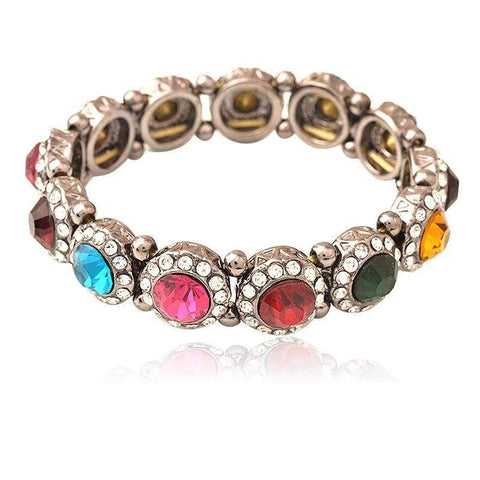 Vintage Jewelry For Women Halo Vintage Ancient Gold-Plated Colorful Gemstone Wed - Wholesalekings.com