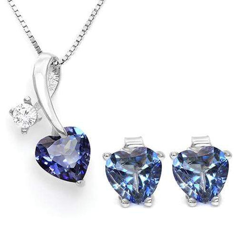 VIOLET MYSTIC GEMSTONE 925 STERLING SILVER SET - Wholesalekings.com