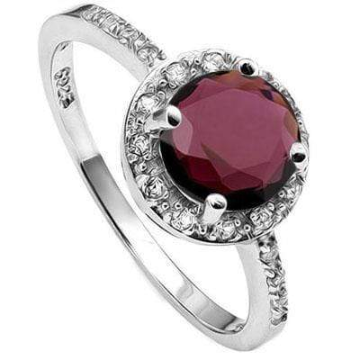 WHOPPING 1 1/2 CARAT GARNET & (20 PCS) CREATED WHITE SAPPHIRE 925 STERLING SILVER RING - Wholesalekings.com