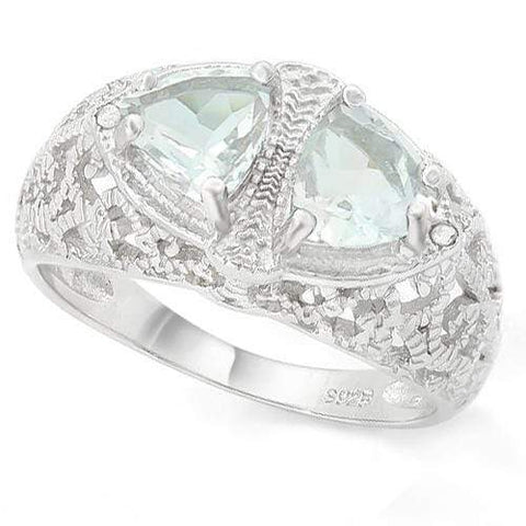 WHOPPING 1 1/3 CARAT AQUAMARINES &   GENUINE DIAMONDS 925 STERLING SILVER RING - Wholesalekings.com