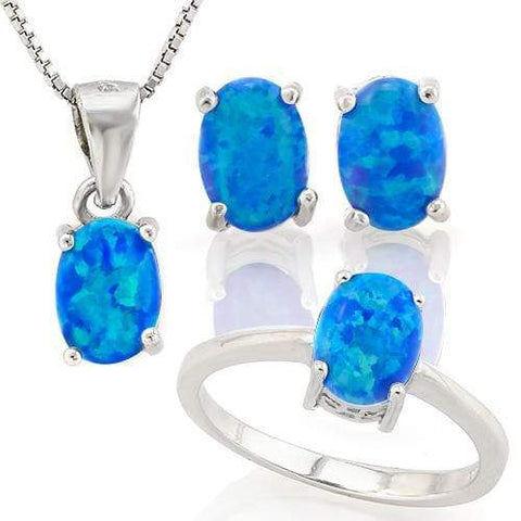 WHOPPING 1 1/4 CARAT CREATED BLUE FIRE OPAL 925 STERLING SILVER SET - Wholesalekings.com