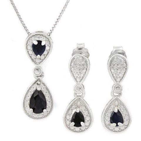 WHOPPING 1 1/5 CARAT SAPPHIRE 925 STERLING SILVER SET - Wholesalekings.com