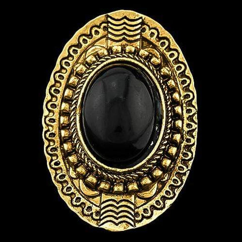 Women Fashion Silver-Plated Black Color Stone Yellow Ring - Wholesalekings.com
