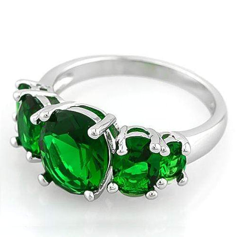 Women Fashion Silver-Plated Oval Green Crystal Stone White Ring - Wholesalekings.com