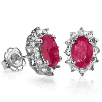 Wonderful 1.27 CT GENUINE RUBY & GENUINE DIAMOND PLATINUM OVER 0.925 STERLING SILVER EARRINGS - Wholesalekings.com