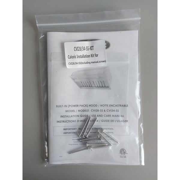 Caloric Hood CVI28/34-SS Caloric Installation Kit for CVI28/34-SS (Including manual, screws) (CA-CVI28/34-SS-KIT)