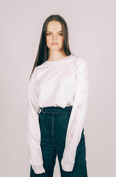 Monogram Long Sleeve - White Pink