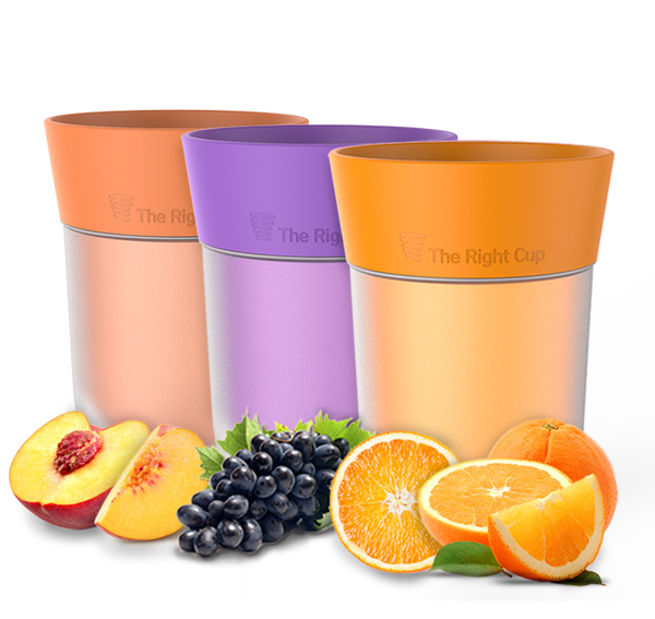 Pack of Orange, Peach and Grape flavored cups