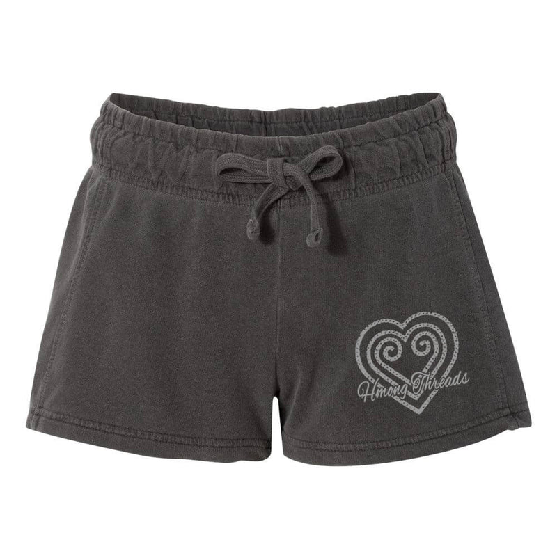 Hmong Heart Ladies' French Terry Shorts - Vintage Grey - HMONG THREADS