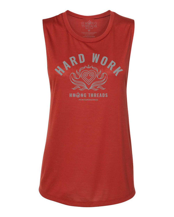 Hard Work Women's Scoop Muscle Tank - Brick Red - HMONG THREADS