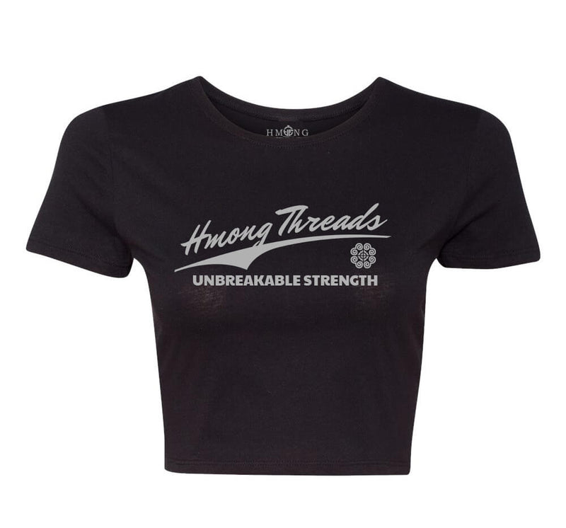 Unbreakable Strength Women's Crop Tee - Black - HMONG THREADS