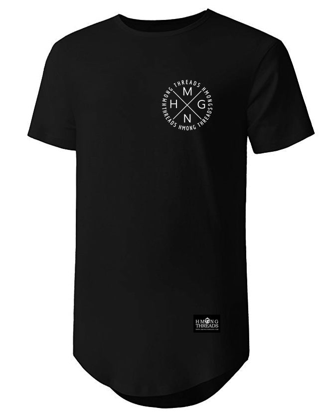 HMONG X SHORT SLEEVE TEE CURVED HEM - BLACK - HMONG THREADS