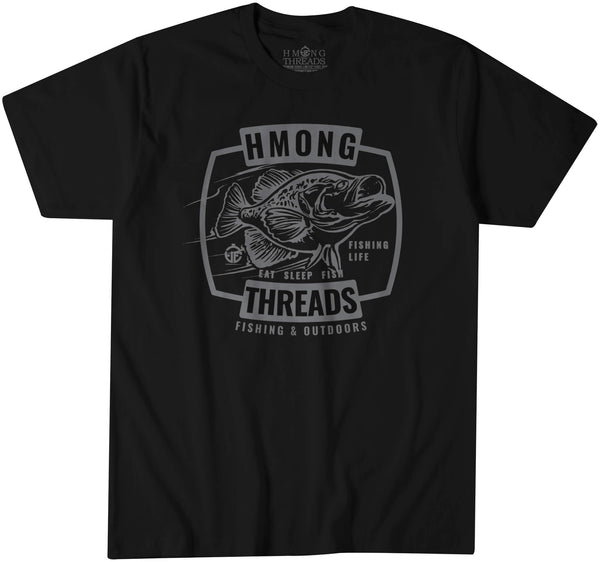 FISHING & OUTDOORS CRAPPIE - BLACK TEE - HMONG THREADS