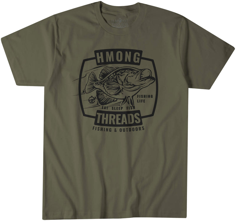 FISHING & OUTDOORS CRAPPIE - MILITARY GREEN TEE - HMONG THREADS