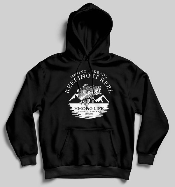 HMONG LIFE FISHING & OUTDOORS - BLACK HOODIE - HMONG THREADS