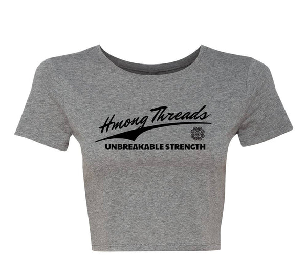 Unbreakable Strength Women's Crop Tee - Grey - HMONG THREADS