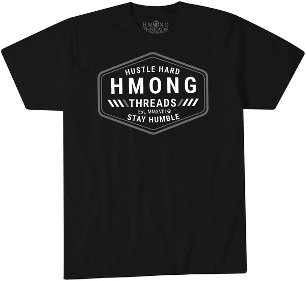 Hustle Hard, Stay Humble - Black Color T-Shirt - HMONG THREADS