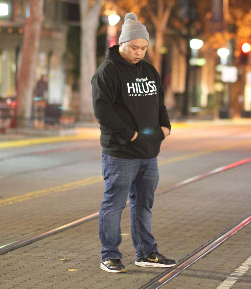 STAY TRUE. HILUSS. COOLAYCOO X HMONG THREADS COLLABO - BLACK HOODIE - HMONG THREADS