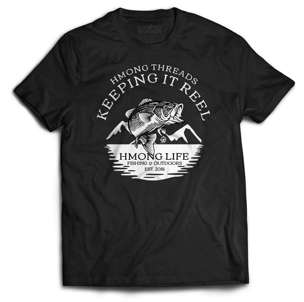 FISHING & OUTDOORS KEEPING IT REEL - BLACK TEE - HMONG THREADS