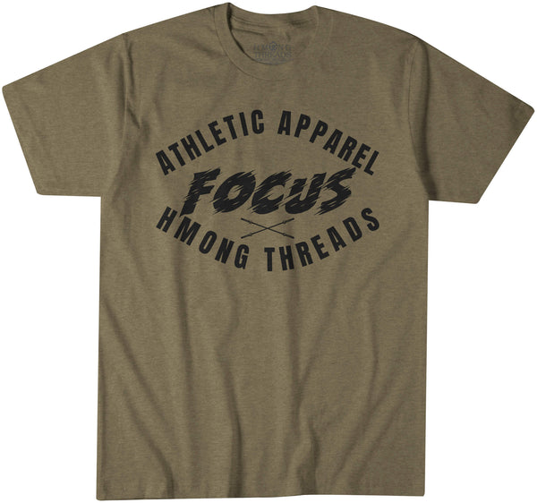 """FOCUS""  ATHLETIC APPAREL - MILITARY GREEN T-SHIRT - HMONG THREADS"