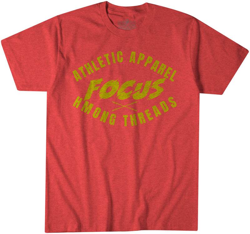 """FOCUS""  ATHLETIC APPAREL - HEATHER CARDINAL T-SHIRT - HMONG THREADS"