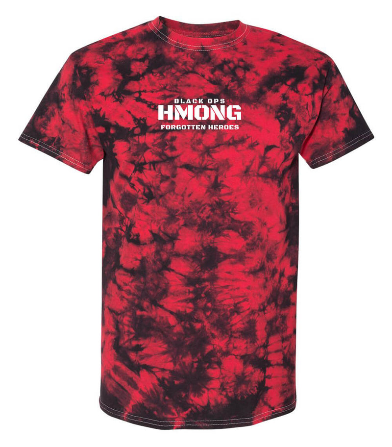 BLACK OPS HMONG FORGOTTEN HEROES-  TIE DYE RED/BLACK - HMONG THREADS
