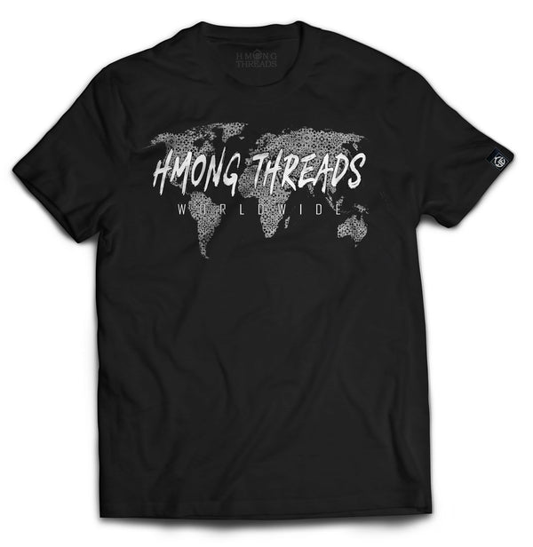WORLDWIDE - BLACK TEE - HMONG THREADS