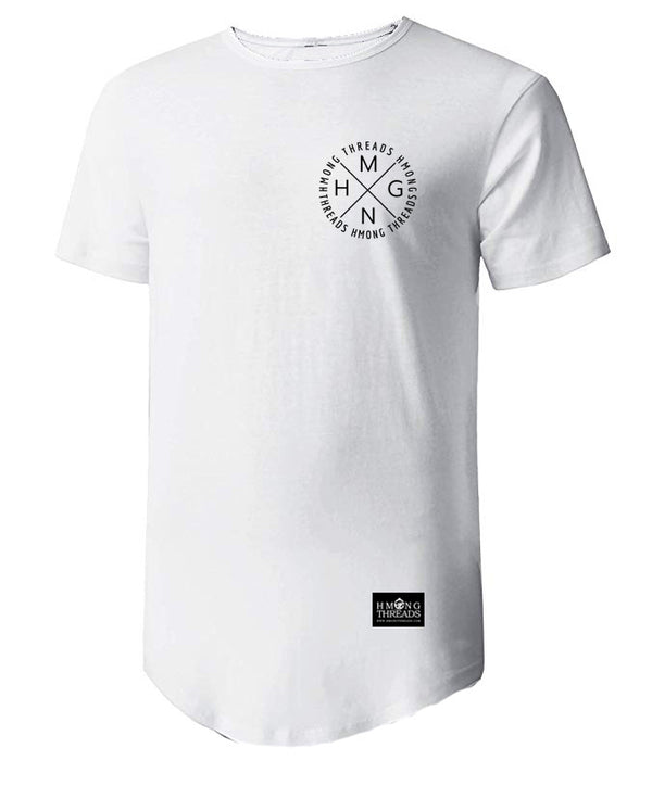 HMONG X SHORT SLEEVE TEE CURVED HEM - WHITE - HMONG THREADS