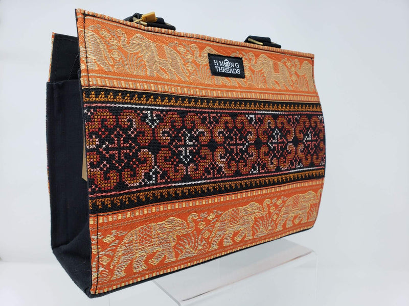 Hmong Elephant Edges with Embroidery Handbag - Orange/Gold - HMONG THREADS